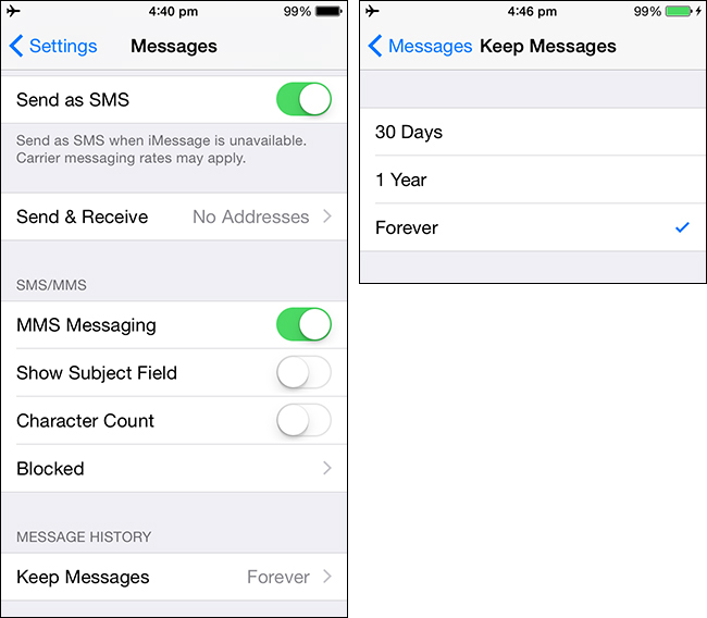 automatically delete messages on iPhone