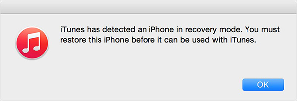 iTunes detects iPhone recovery mode